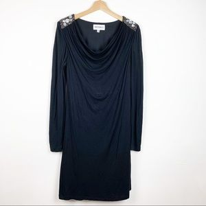 Slipon Long Sleeves Black Dress